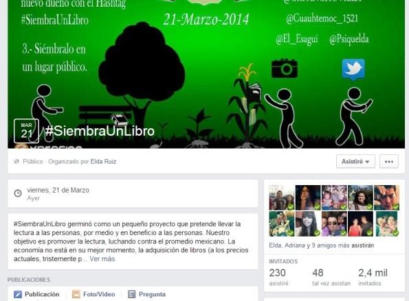 Evento Facebook #SiembraUnLibro
