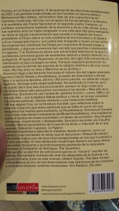 """Contraportada del libro """"Sumisión"""""""